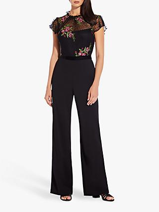 Adrianna Papell Rose Embroidery Jumpsuit, Black Multi