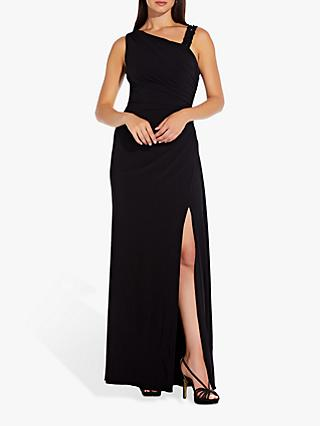 Adrianna Papell Bead Embellished Asymmetric Dress, Black