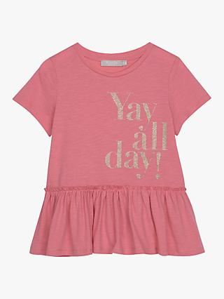 Mintie by Mint Velvet Girls' Yay All Day T-Shirt, Pink