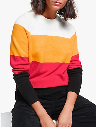 Collection WEEKEND by John Lewis Bold Block Stripe Raglan Jumper, Ivory/Black/Red/Yellow