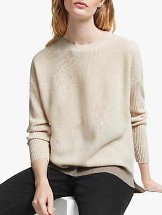 John Lewis & Partners Cashmere Two Tone Waffle Stitch Sweater, Champagne/Toast