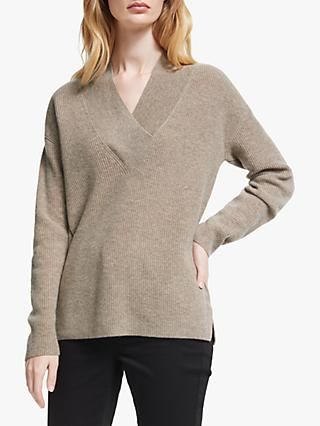 John Lewis & Partners Wide V-Neck Cashmere Sweater, Taupe