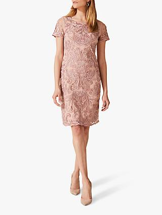 Phase Eight Talia Embroidered Dress, Ballet Pink