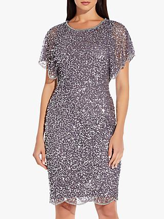 Adrianna Papell Flutter Sleeve Bead Dress, Moonscape