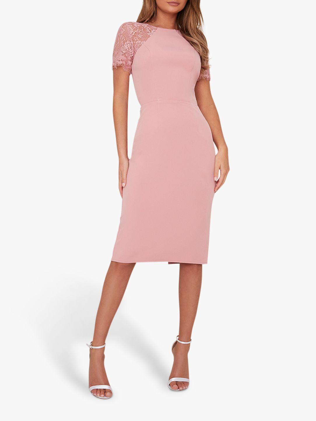 Chi Chi London Chi Chi London Shannon Lace Sleeve Dress, Pink