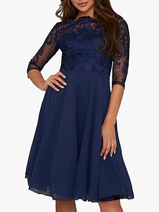 Chi Chi London Carmella Lace Dress, Navy
