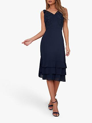 Chi Chi London Alorah Embroidered Dress, Navy