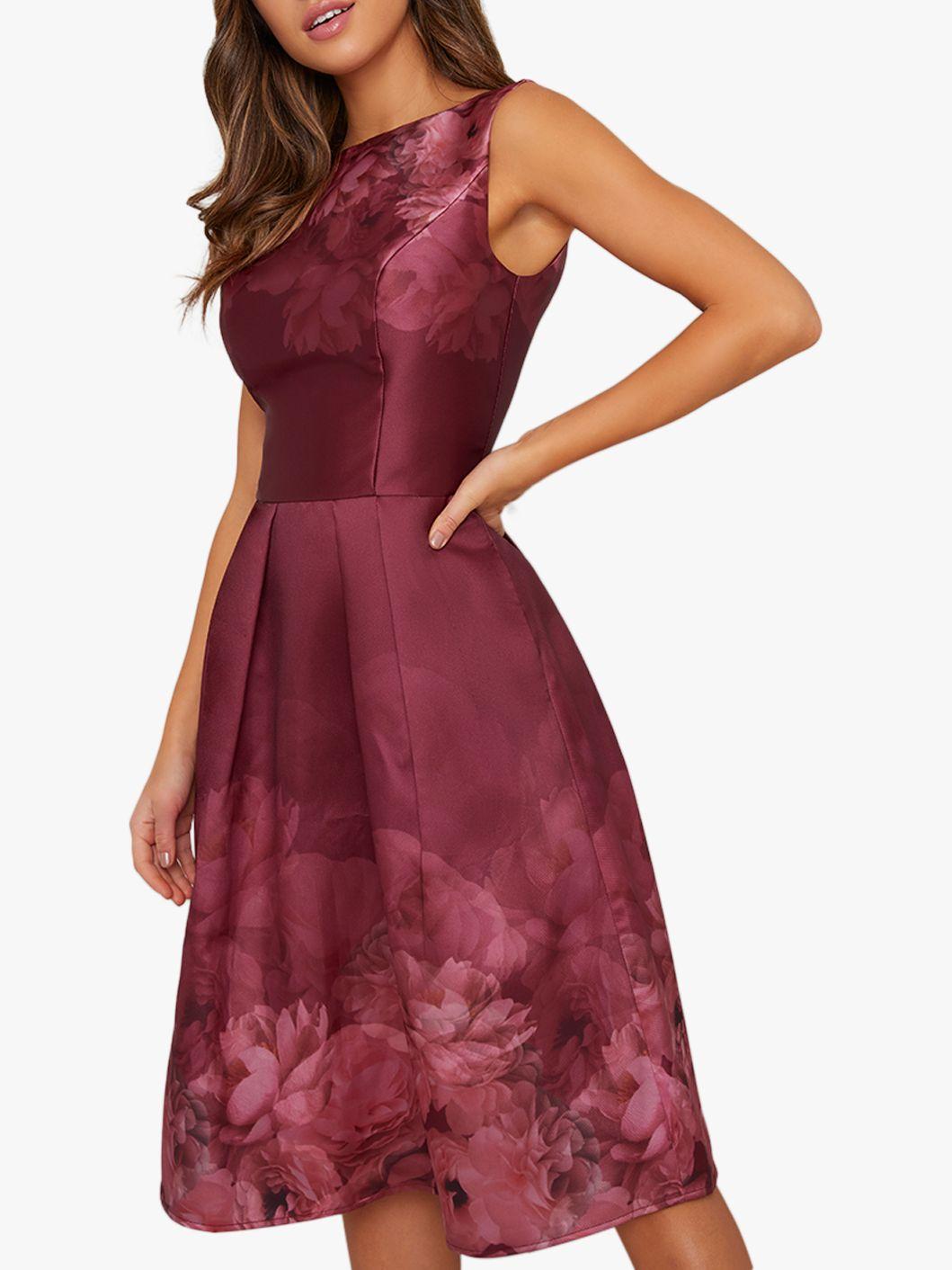 Chi Chi London Chi Chi London Sady Floral Dress, Burgundy