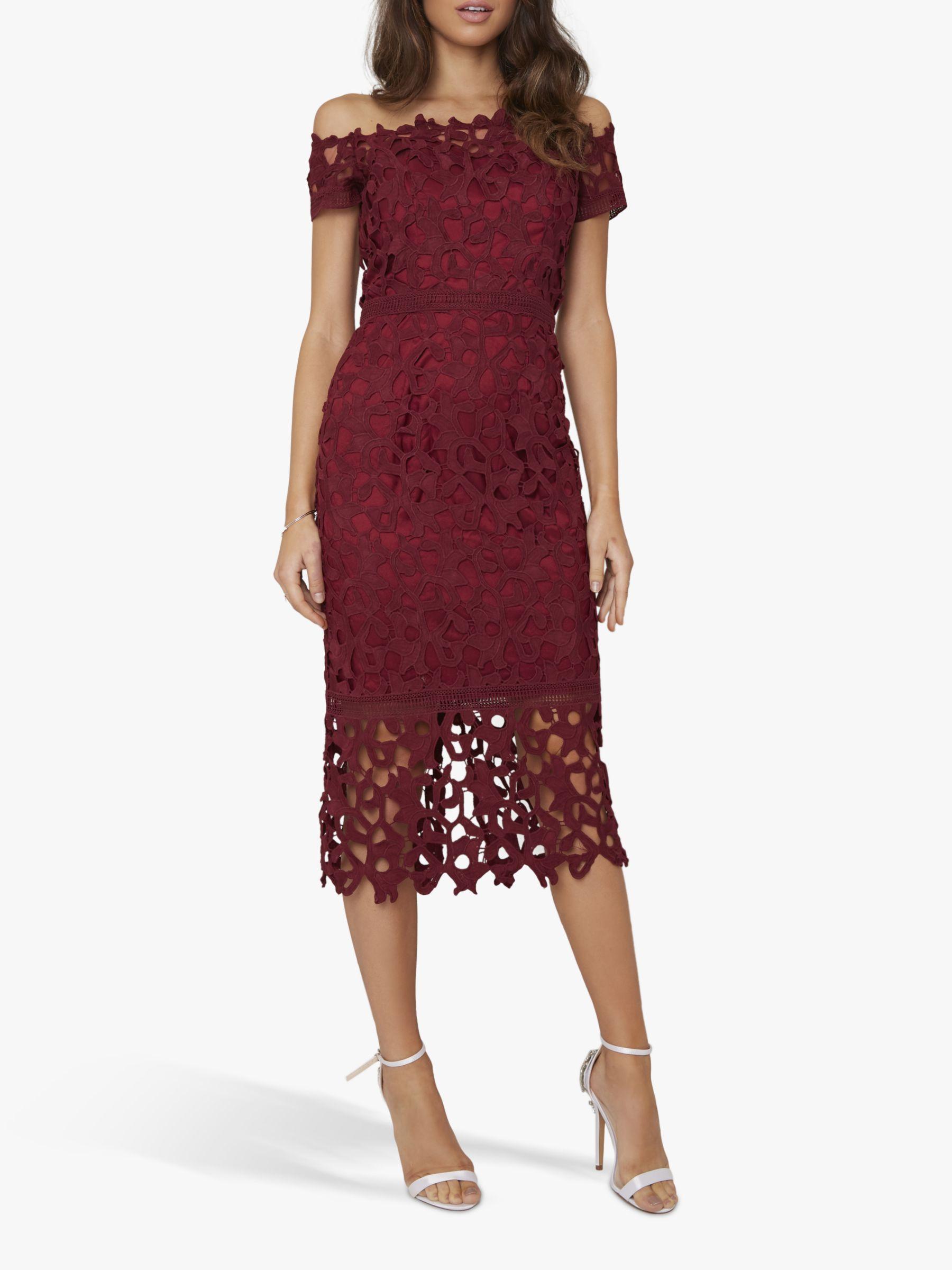 Chi Chi London Chi Chi London Anna Crochet Dress, Burgundy