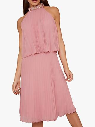 Chi Chi London Loa Embellished Neck Dress, Rose Gold