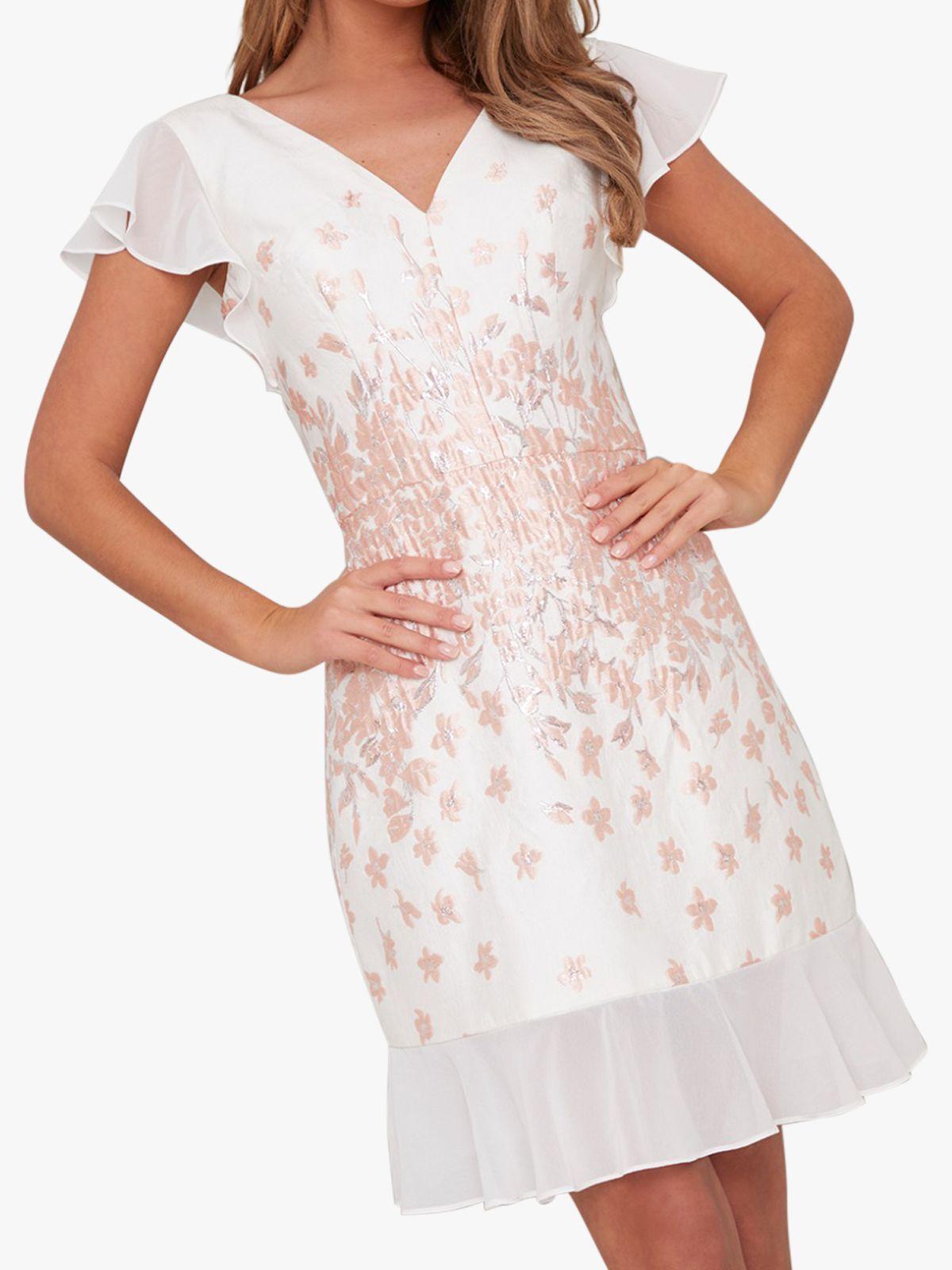 Chi Chi London Chi Chi London Nelley Metallic Embroidered Dress, White