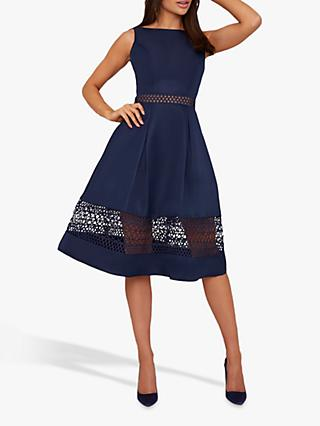 Chi Chi London Delia Crochet Panel Dress, Navy