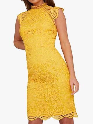 Chi Chi London Pania Crochet Dress, Yellow