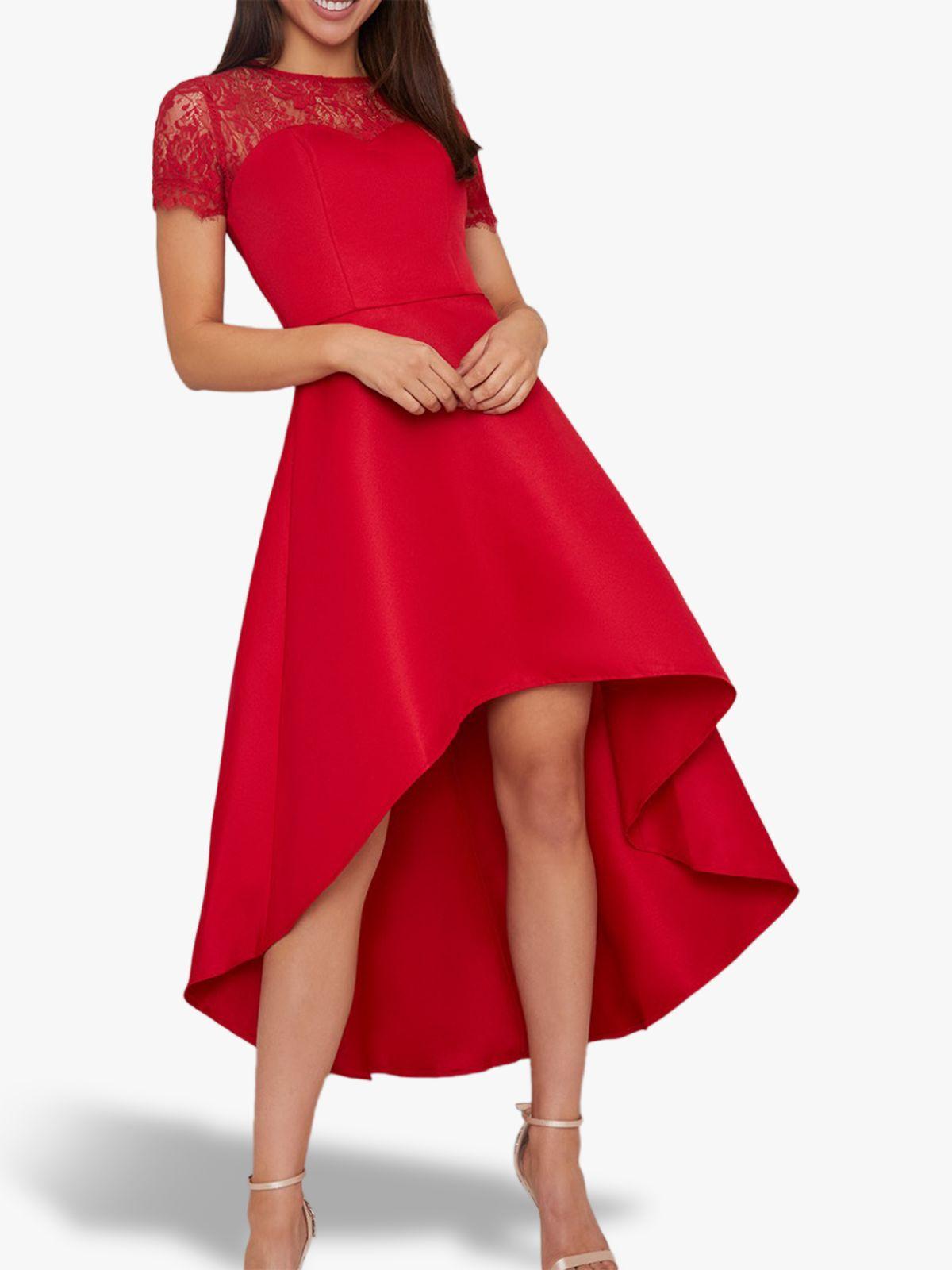 Chi Chi London Chi Chi London Oti High Low Lace Detail Dress, Red