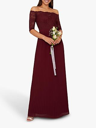 Chi Chi London Whitley Lace Bardot Dress, Burgundy