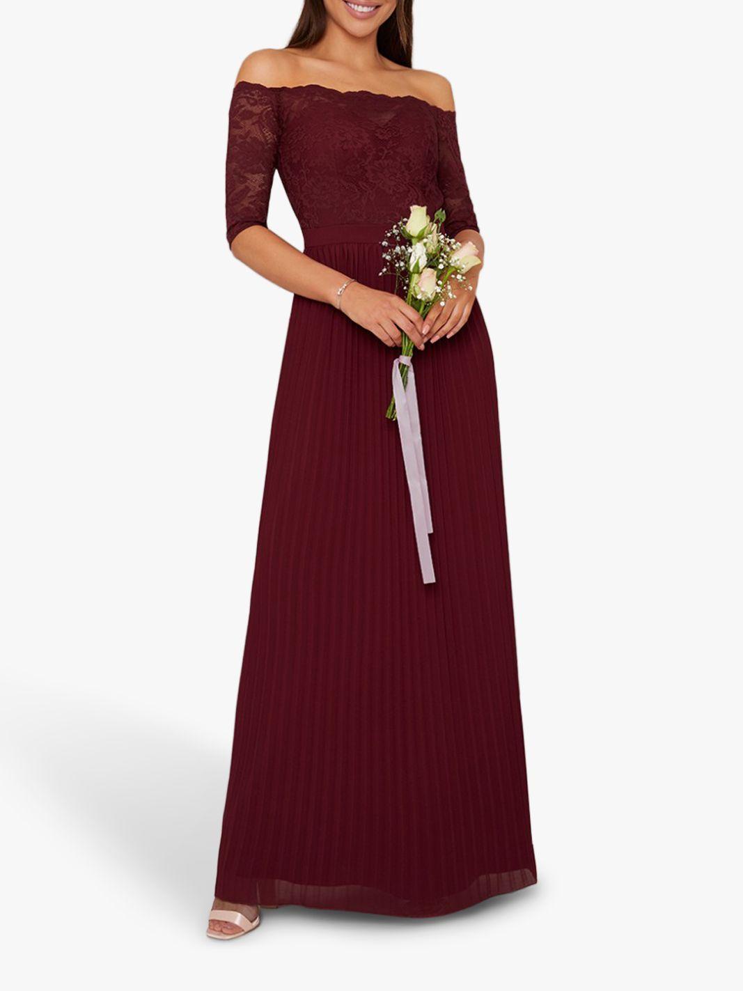 Chi Chi London Chi Chi London Whitley Lace Bardot Dress, Burgundy