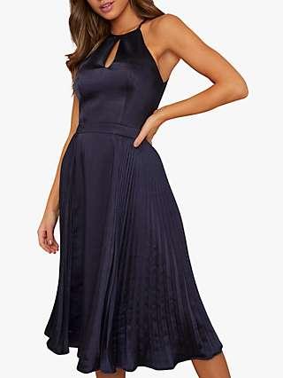 Chi Chi London Benita Halter Neck Dress, Navy