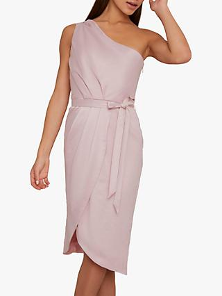 Chi Chi London Laura One Shoulder Dress, Mink