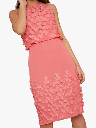 Chi Chi London Patti Embellished Floral Dress, Coral
