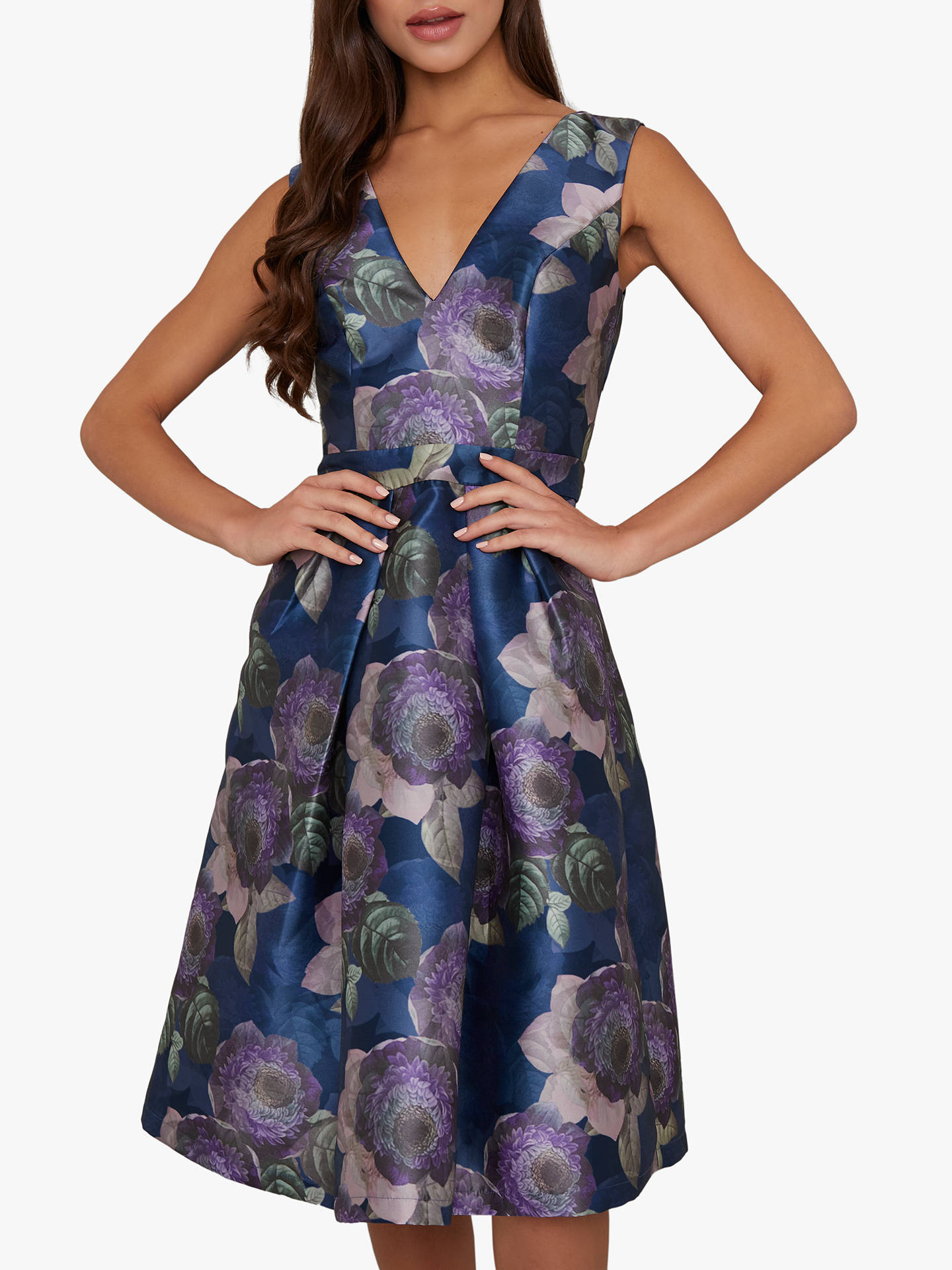 Buy Chi Chi London James Floral Dress, Navy, 8 Online at johnlewis.com