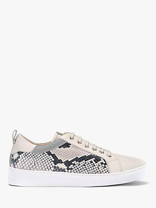 Mint Velvet Allie Leather Snake Print Lace Up Trainers, Stone