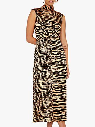 Warehouse Tiger High Neck Dress, Zebra