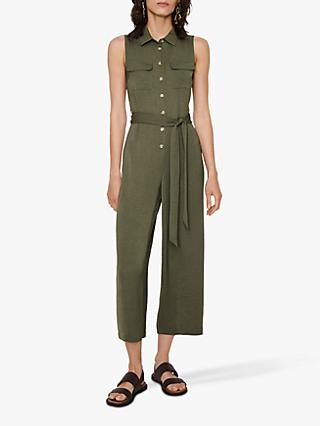 Warehouse Textured Utility Jumpsuit, Khaki