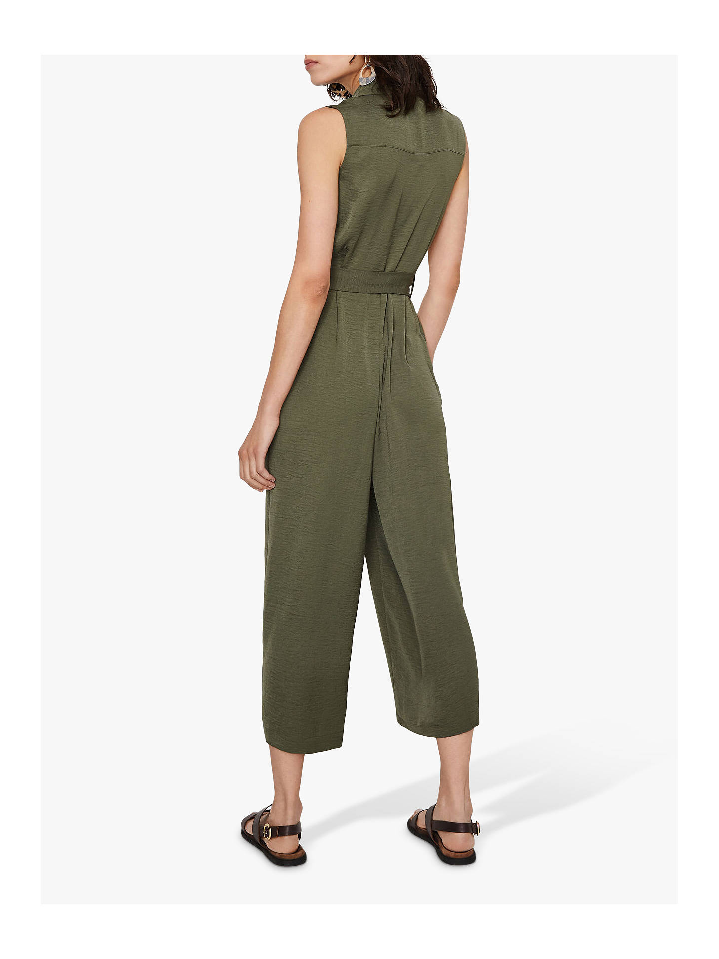 Buy Warehouse Textured Utility Jumpsuit, Khaki, 18 Online at johnlewis.com