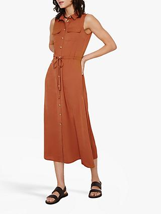 Warehouse Textured Midi Shirt Dress