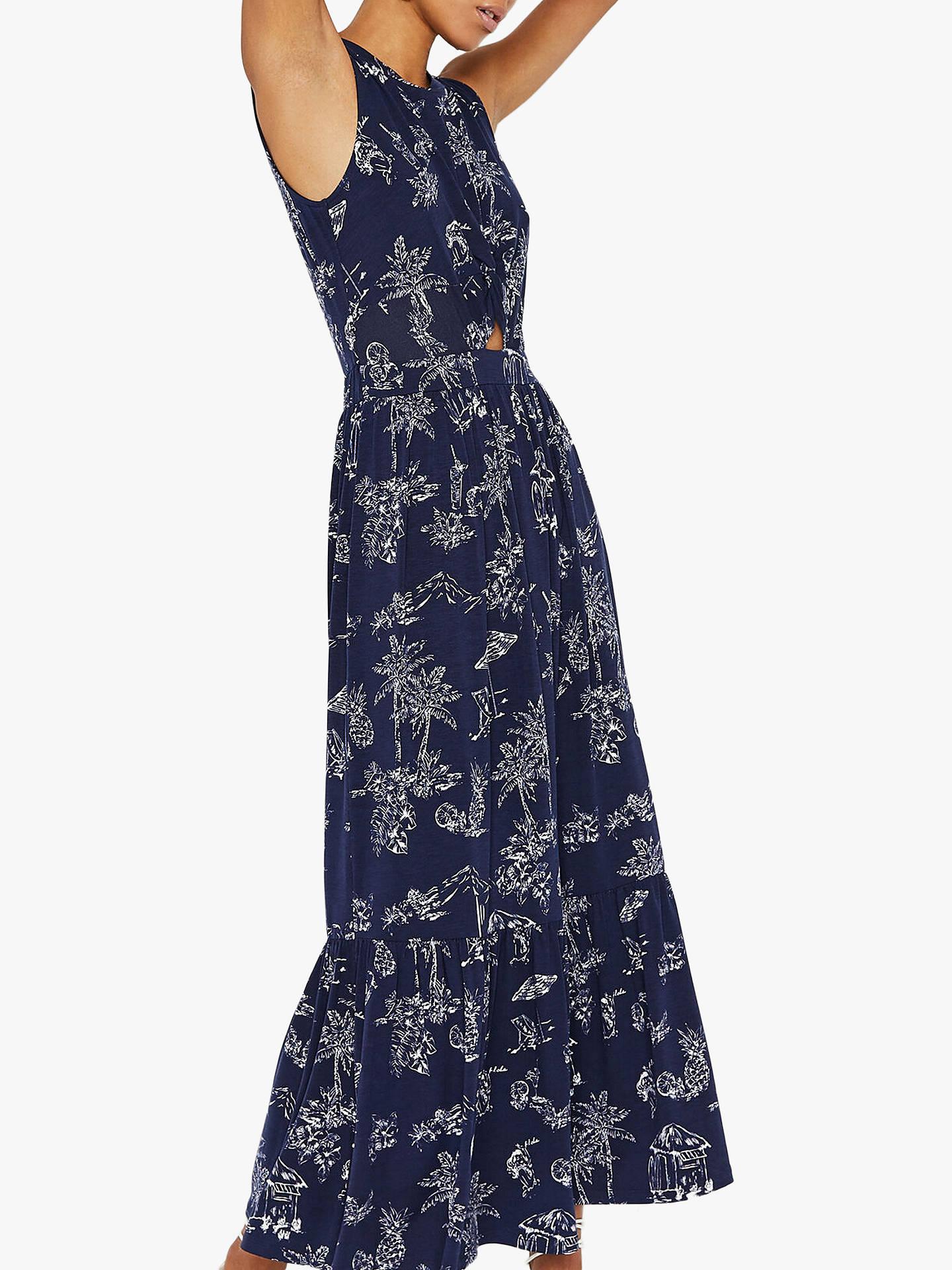 Warehouse Aloha Tiered Maxi Dress, Navy