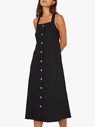 Warehouse Linen Pinafore Midi Dress, Black