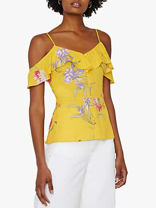 Warehouse Iris Floral Top, Yellow