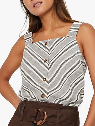 Warehouse Stripe Square Neck Cami Top, Neutral Stripe