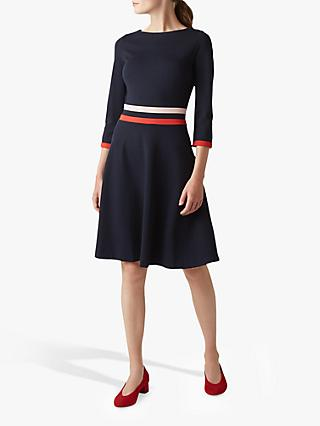 Hobbs Seasalter Stripe Dress, Navy/Multi