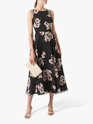 Hobbs Carly Floral Print Ribbon Midi Dress, Black/Multi
