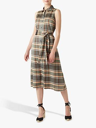 Hobbs Isadora Check Shirt Midi Dress, Multi
