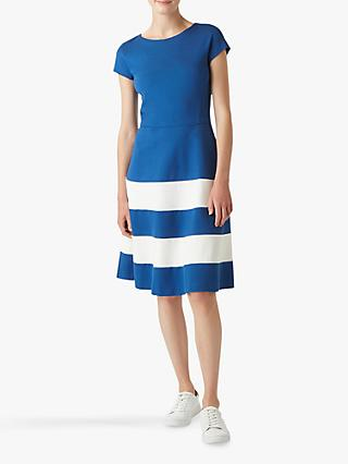 Hobbs Lizzie Stripe Flared Dress, Cobalt/White