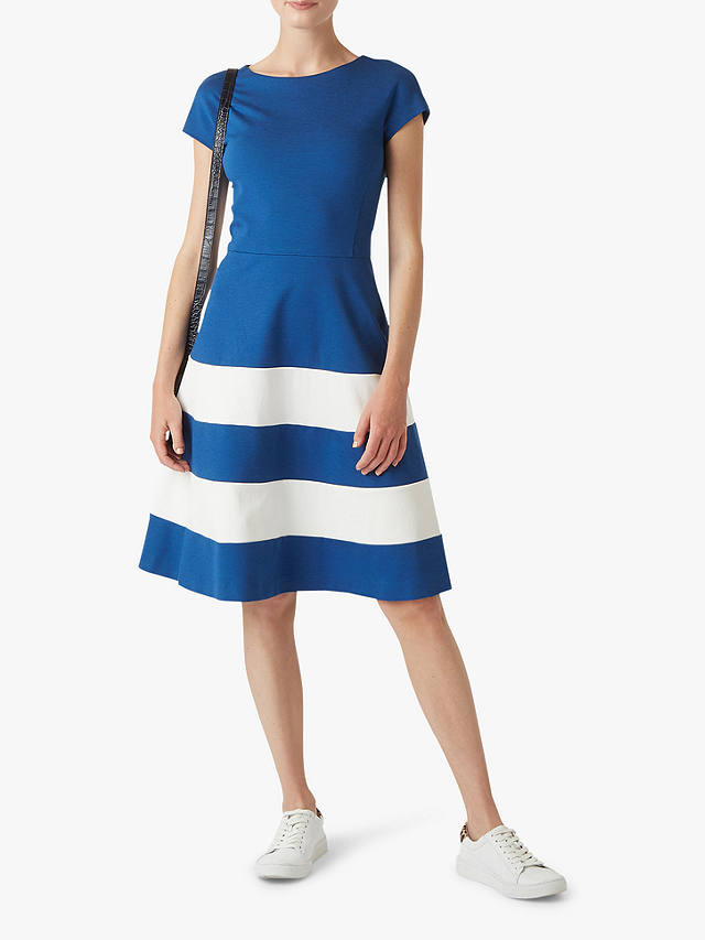 Hobbs Lizzie Stripe Flared Dress Cobalt White At John