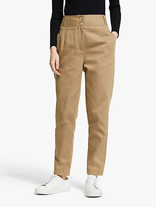 John Lewis & Partners High Waist Trousers, Dark Natural