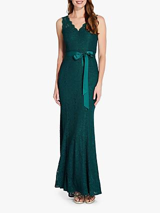 Adrianna Papell Long Lace Gown, Forest