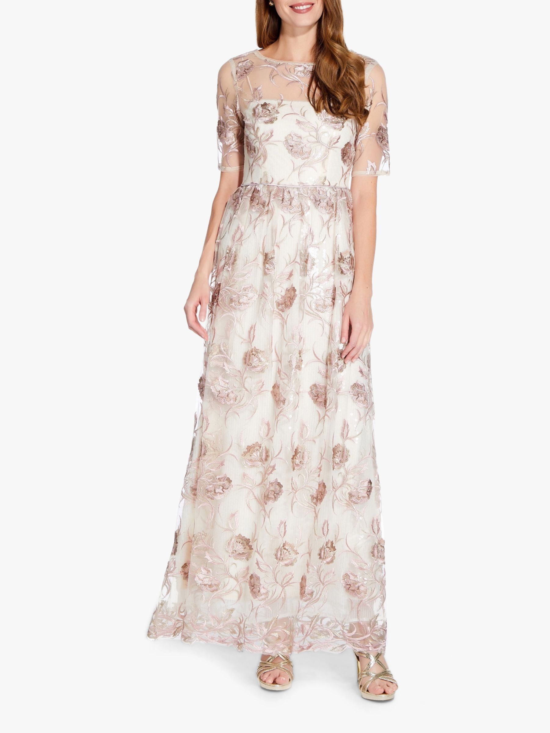 Adrianna Papell Womens Embroidered Fit-and-Flare with Illusion Neck