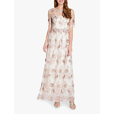 Adrianna Papell Long Embroidered Dress, Quartz