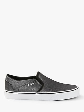 Vans Asher Slip On Trainers, Black Glitter