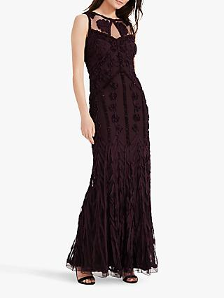 Phase Eight Anoushka Floral Tapework Maxi Dress, Burgundy