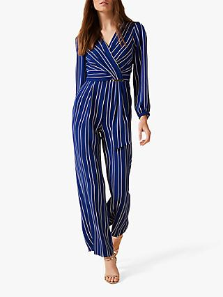 Phase Eight Clara Stripe V Neck Jumpsuit, Cobalt