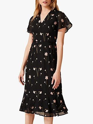 Phase Eight Savanna Embroidered Floral Midi Dress, Black