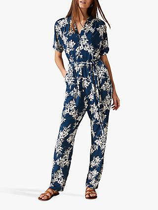 Phase Eight Clancy Palm Jumpsuit, Petrol/Multi
