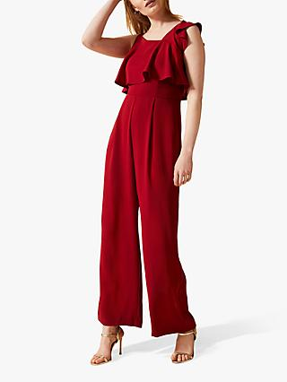 Phase Eight Pamela Asymmetric Ruffle Detail Jumpsuit, Sangria