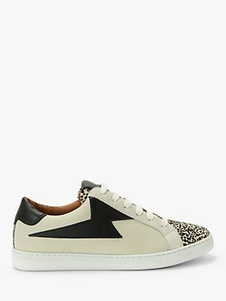 AND/OR Etty Zig Zag Mix Leather Trainers, Beige