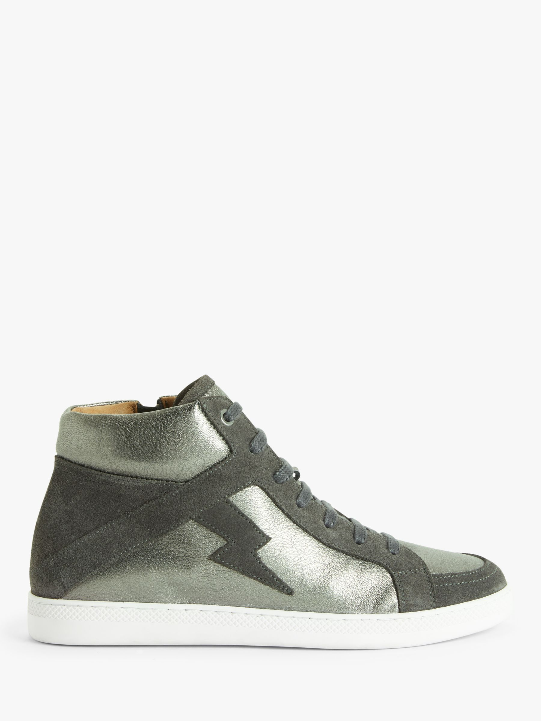 Buy AND/OR Elvie Leather High Top Trainers, Silver, 3 Online at johnlewis.com